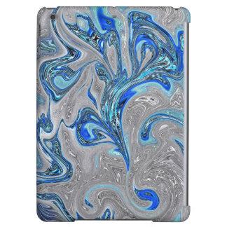 Funda Para iPad Air Azul de pavo real y extracto veteado plata