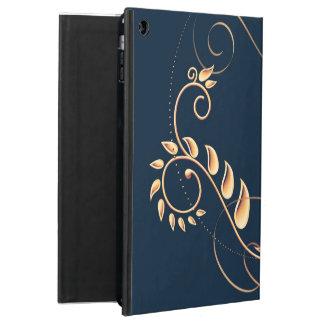 Funda Para iPad Air Azules marinos metálicos del oro florales