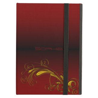 Funda Para iPad Air Caso floral del iPad del rojo y del oro del