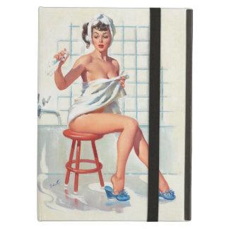 Funda Para iPad Air Chica modelo retro del cuarto de baño atractivo de