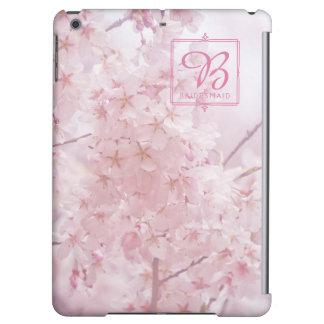 Funda Para iPad Air Dama de honor del monograma pálida - flores de