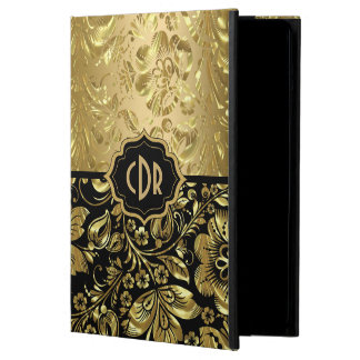 Funda Para iPad Air Damascos brillantes del oro en fondo negro