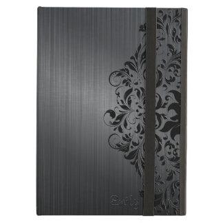 Funda Para iPad Air El negro metálico cepilló acento floral de la