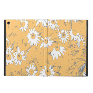 Funda Para iPad Air Flores blancas del cono con el fondo anaranjado