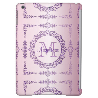Funda Para iPad Air Lila femenina de la joya del marco del monograma