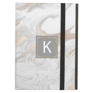 Funda Para iPad Air Oro elegante y falsa caja de mármol blanca del