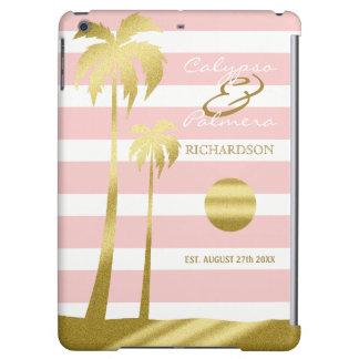 Funda Para iPad Air Rayas rosadas de las palmeras del brillo del oro