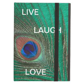 Funda Para iPad Air Vive la pluma del pavo real del amor de la risa