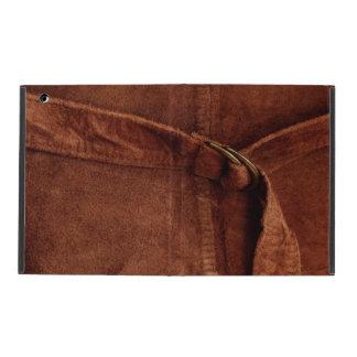 Funda Para iPad Gamuza marrón con la correa y la hebilla