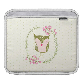 Funda Para iPad Guirnalda floral y corazones del búho lindo