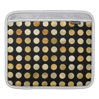 Funda Para iPad Hoja de oro y negro de los lunares del brillo