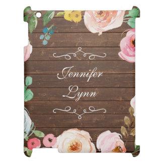 Funda Para iPad Madera rústica personalizada y caso floral del