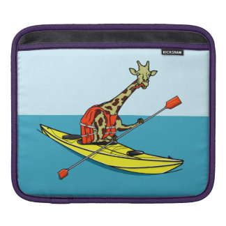 Funda Para iPad Mar de la jirafa del dibujo animado kayaking