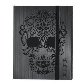 Funda Para iPad Metal cepillado negro de Monogramed, cráneo floral