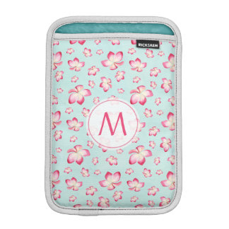 Funda Para iPad Mini Aguamarina rosada del monograma del Frangipani