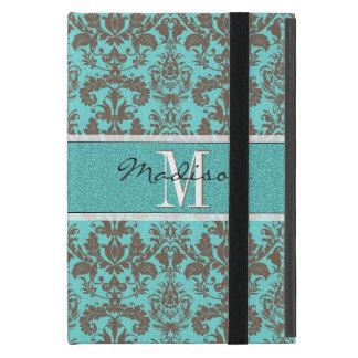 Funda Para iPad Mini Azules turquesas verde azuladas y damasco de