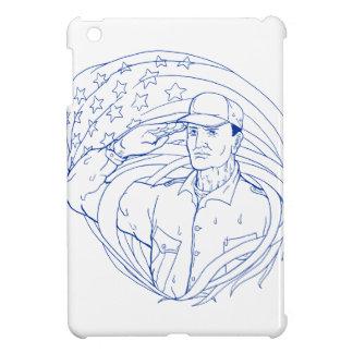 Funda Para iPad Mini Bandera americana Ukiyo-e del saludo del soldado
