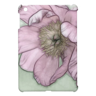 Funda Para iPad Mini Bosquejo rosado de la flor del Peony
