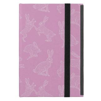 Funda Para iPad Mini Conejitos blancos lindos en el soporte rosado de