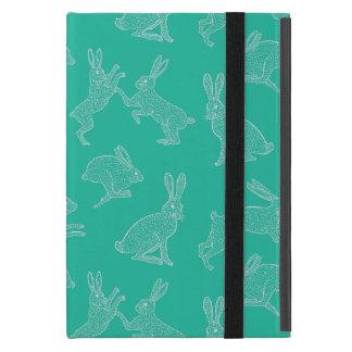Funda Para iPad Mini Conejitos blancos lindos en el soporte verde de