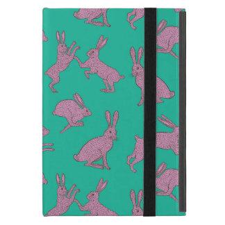 Funda Para iPad Mini Conejitos rosados lindos en el soporte verde de