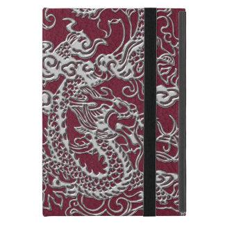 Funda Para iPad Mini Dragón de plata en textura del cuero del vino rojo