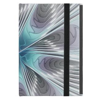 Funda Para iPad Mini Elegancia, flor azul moderna del fractal del
