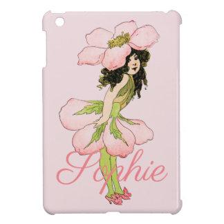 Funda Para iPad Mini Hada rosada Personnalised de la flor del vintage