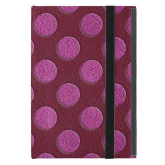 Funda Para iPad Mini Lunares rosados en la impresión del cuero del vino