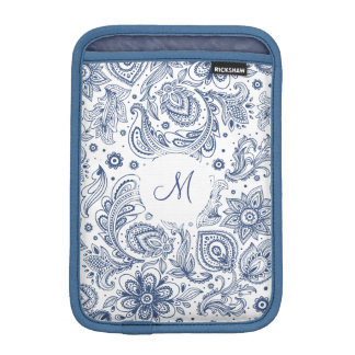 Funda Para iPad Mini Manga azul del iPad del monograma del estampado de
