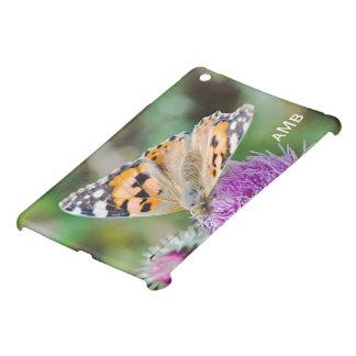 Funda Para iPad Mini Mariposa negra y anaranjada en la flor púrpura