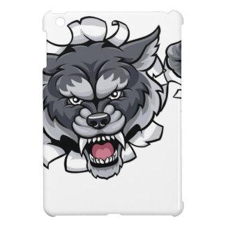 Funda Para iPad Mini Mascota de los bolos del lobo que rompe el fondo
