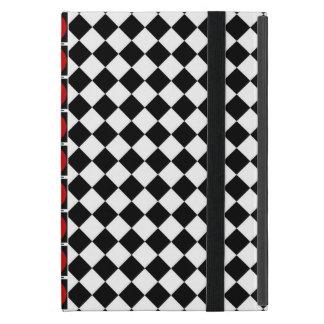 Funda Para iPad Mini Media banda blanca negra elegante del rojo de los