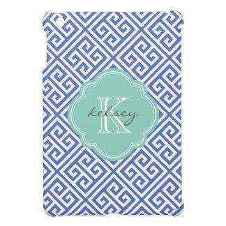 Funda Para iPad Mini Monograma de encargo dominante griego del azul y d