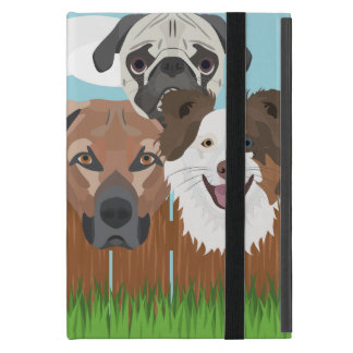 Funda Para iPad Mini Perros afortunados del ilustracion en una cerca de