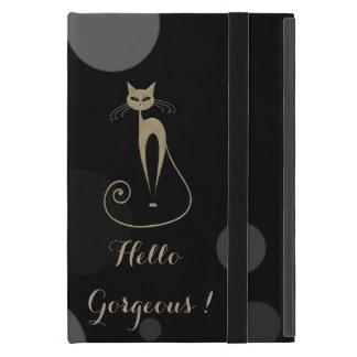 Funda Para iPad Mini Puntos grises en el fondo negro, gato, hola