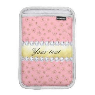 Funda Para iPad Mini Rosa elegante de los copos de nieve del brillo del