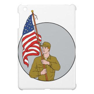 Funda Para iPad Mini Soldado americano que sostiene el dibujo del