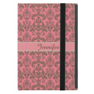 Funda Para iPad Mini Vintage, rojo de la violeta pálida y nombre marrón