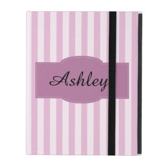 Funda Para iPad Monograma púrpura y rosado de las rayas femenino