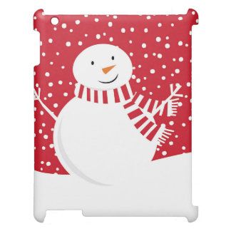 Funda Para iPad muñeco de nieve rojo y blanco contemporáneo