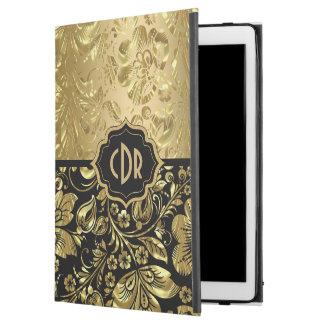 """Funda Para iPad Pro 12.9"""" Damascos brillantes del oro en el fondo negro GR2"""
