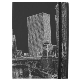 """Funda Para iPad Pro 12.9"""" El río Chicago Wrigley 1967 que construye Sun mide"""