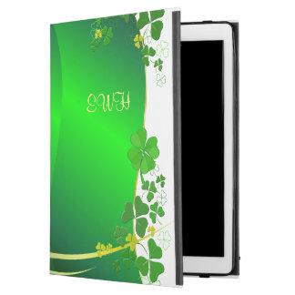 """Funda Para iPad Pro 12.9"""" Trébol afortunado verde su monograma"""