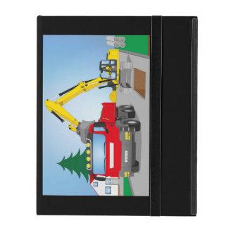 Funda Para iPad Straßenbaustelle con CAMIONES rojos y excavadora