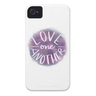 Funda Para iPhone 4 Amor Mano-Indicado con letras uno otro de Bokeh de