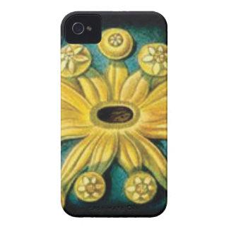 Funda Para iPhone 4 arte amarillo de la explosión de la flor
