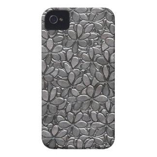 Funda Para iPhone 4 Caso metálico de plata del estampado de flores