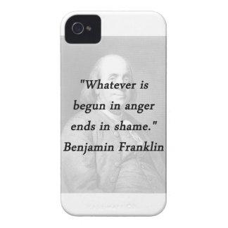 Funda Para iPhone 4 Comenzado en la cólera - Benjamin Franklin