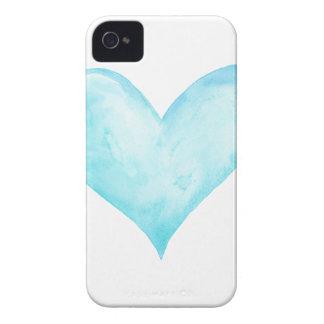 Funda Para iPhone 4 Corazón del azul de la acuarela